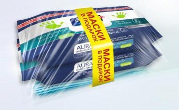 Промо-набор, влажные салфетки 72 шт., и маски 3 шт., Aura 170 гр., полиэтиленовая пленка