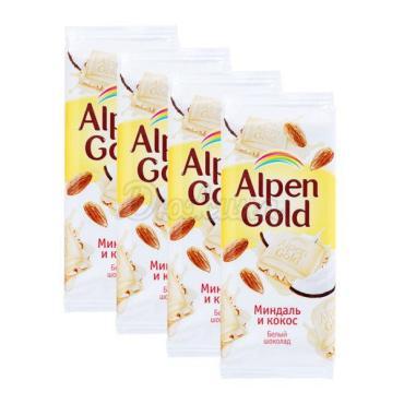 Шоколад миндаль и кокос Alpen Gold 90 г