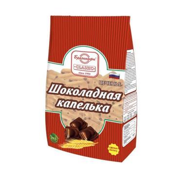 Печенье сахарное Брянконфи Шоколадная капелька, 300 гр., Пластиковый пакет