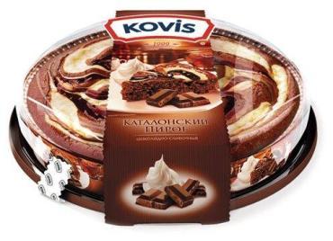 Пирог бисквитный с начинкой вишня Kovis Каталонский, 400 гр., пластиковая упаковка