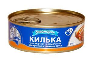 Килька черноморская обж.в т.с, Росрезерв, Аквамарин, 240 гр., жестяная банка