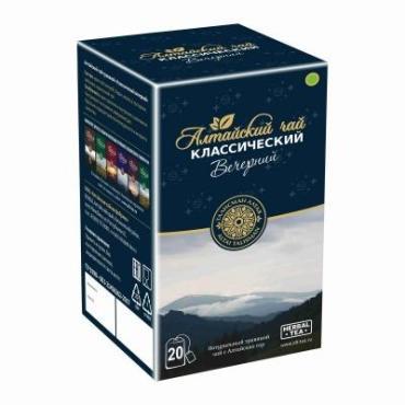 Чай травяной 20 пакетиков Алтайский чай Классический вечерний 40 гр., картонная коробка