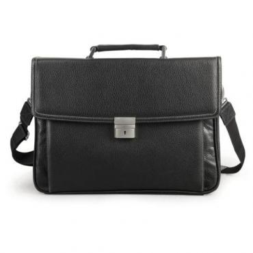 Портфель из натуральной кожи, 38х27х12 см., 2 отделения, замок с ключом, черный, Alliance