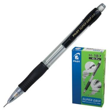Карандаш механический, корпус черный, резиновый грип, ластик, 0,7 мм.,  Super Grip, Pilot, картон