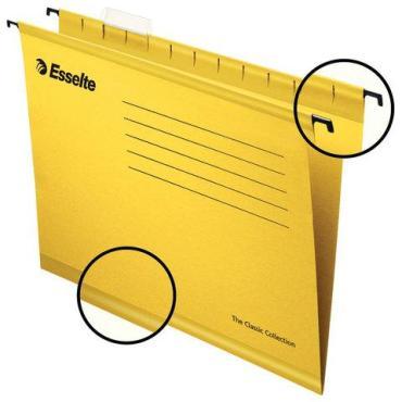 Подвесные папки А4, 400х240 мм., до 300 листов, комплект 25 шт., желтые, картон Esselte PlusFoolscap