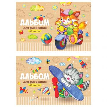 Альбом для рисования 40л., А4, на скрепке ArtSpace Веселые мультяшки