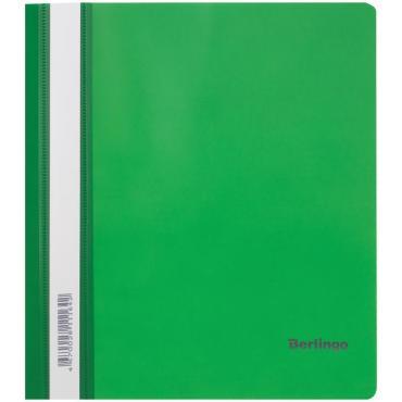 Папка-скоросшиватель пластик. Berlingo, А5, 180мкм, зеленая с прозр. верхом, индив. ШК