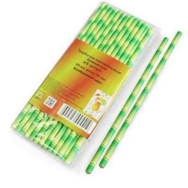 Трубочка бумажная 6х197мм 25 шт. Бамбук, пластиковый пакет
