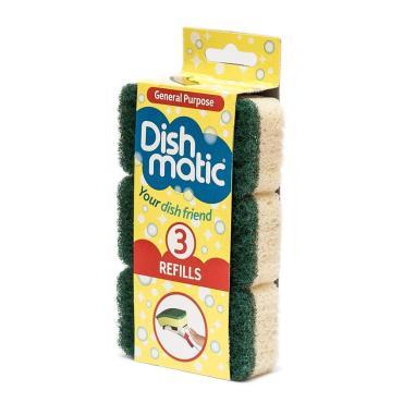 Сменный блок стандарт 3 штуки зеленый Dishmatic, 35 гр., Бумажная упаковка