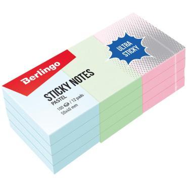Самоклеящийся блок Berlingo Ultra Sticky, 50*40мм, 12 блоков по 100л, 3 пастельных цвета