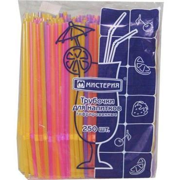 Трубочки для коктейля гофрированные, d=5 мм., L= 210 мм., флюоресцентные цветные, ПП, 250 шт., Мистерия, пластиковый пакет