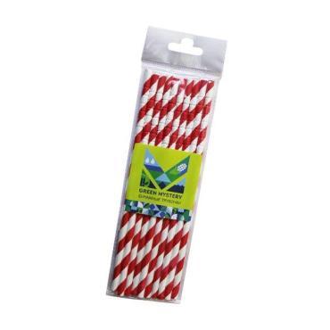 Трубочки бумажные с изгибом, полоска, цвет красно-белый, d=6 мм L=195 мм, европодвес, Green Mystery Леденец, 10 шт/уп, пластиковый пакет