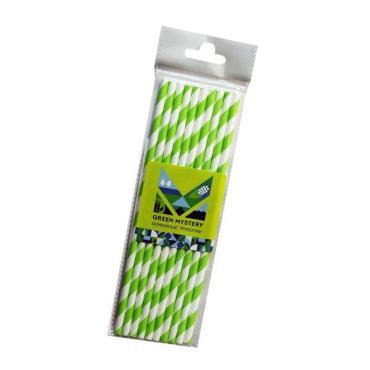 Трубочки одноразовые бумажные Green Mystery Лиана полоска цвет зелено-белый d=6 мм., L=195 мм., 10 штук, Китай, 20 гр., пластиковый пакет