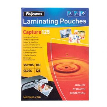 Пленки-заготовки для ламинирования малого формата (75х105 мм.), комплект 100 шт., 125 мкм., Fellowes, картон