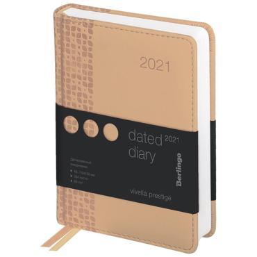 Ежедневник датированный 2021г., А6, 184л., кожзам, Berlingo Vivella Prestige, бежевый