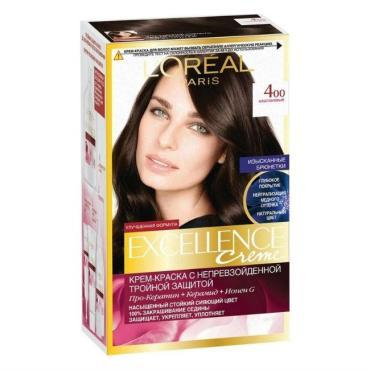 Краска для волос 400 Каштановый L'Oreal Excellence Creme, 192 мл., картонная коробка