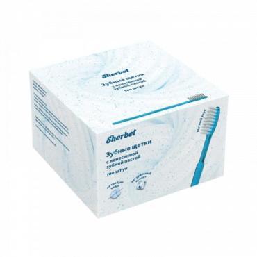 Зубные щётки с нанесенной зубной пастой, 100 шт. Sherbet