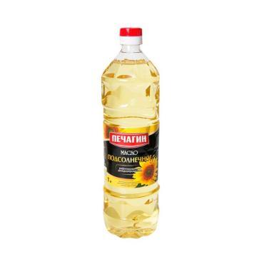 Масло подсолнечное раф./дез. Печагин, 1 л., пластиковая бутылка
