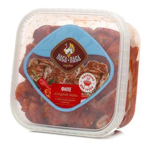 Филе из красного мяса индейки в маринаде Пава Пава Сладкий чили 600 гр., пластиковый контейнер