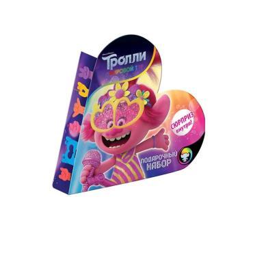 Подарочный набор, конфеты шоколадные и леденцовые с сюрпризом 10 шт., Конфитрейд Trolls 85 гр., картонная коробка