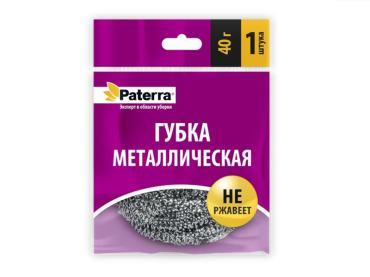 Губка металлическая Paterra, 40 гр., пластиковый пакет
