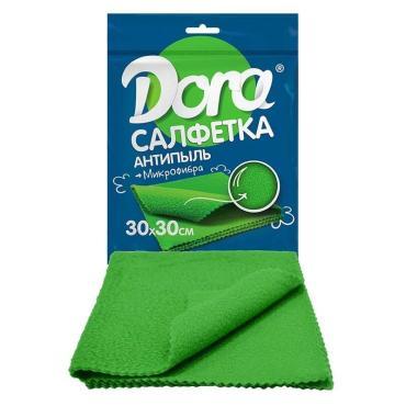 Салфетка из микрофибры 30х30см Dora Антипыль, пластиковый пакет