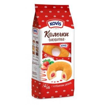 Печенье с клубничным джемом Kovis Колечки, 240 гр., пластиковый пакет