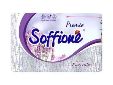 Туалетная бумага 3-х слойная, 12 рулонов Soffione Премиум Тоскана Лаванда, полиэтиленовая пленка