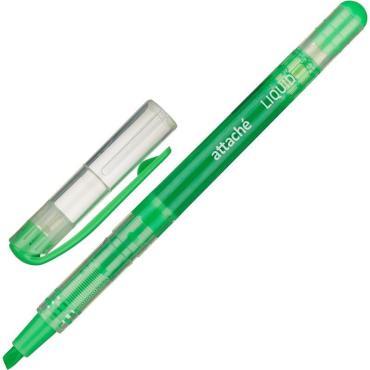 Маркер выделитель текста Attache Liquid 1-4мм жидкие чернила зелёный