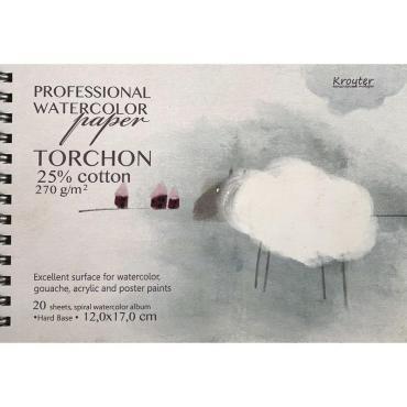 Альбом д/акварели 120х170мм,20л,270гр+хлопок,спираль,тв.подл.Torchon 00178