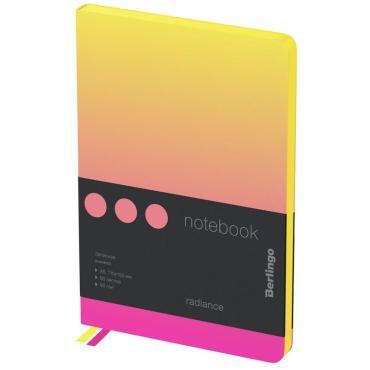 Записная книжка А6 80л., кожзам, Berlingo Radiance, черный срез, желтый/розовый градиент