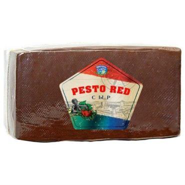 Сыр Pesto Red с зеленью и чесноком 45%, Новогрудские дары, 3.5 кг., вакуумная упаковка
