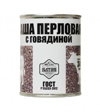 Каша перловая с говядиной, Первый Мясной Завод Алтая, 340 гр., жестяная банка