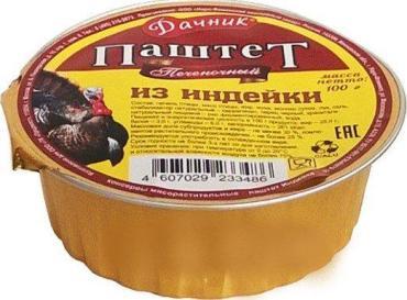 Паштет печеночный индейка Дачник, 100 гр., ламистер