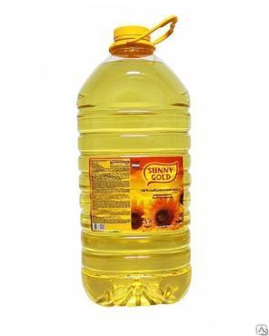 Подсолнечное раф., дез., масло первый сорт Санни Голд 5 л., пластиковая бутылка