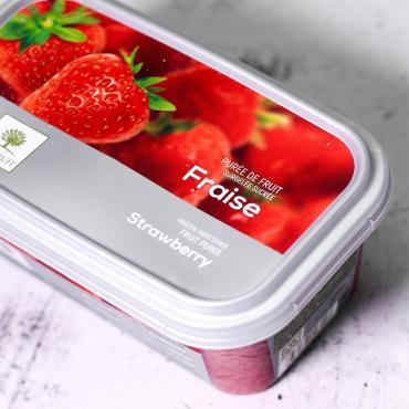 Пюре из клубники с сахаром, Ravifruit, 1 кг., пластиковый контейнер