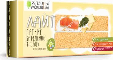 Хлебцы вафельные с витаминами Хлебцы Молодцы Лайт 70 гр., пластиковый пакет