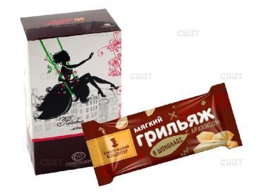 Конфеты мягкий грильяж с арахисом Сарапульская кондитерская фабрика 2 кг., картонная коробка