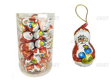 Шоколад шоколадная фигурка Волшебный Кондитер Дед Мороз на веревке, 14 гр., обертка фольга/бумага
