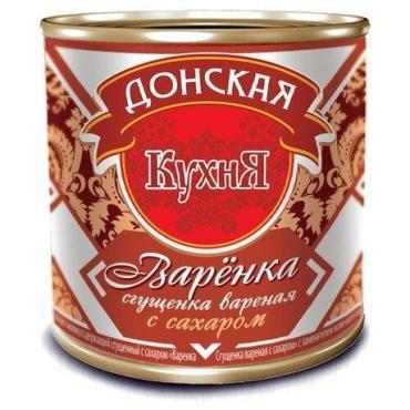Молоко сгущенное вареное, 0,2%, Донская кухня, 370 гр., ж/б