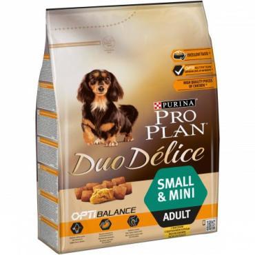 Корм сухой для взрослых собак мелких пород, с курицей и рисом, Purina Pro Plan Duo Delice, 700 гр., пластиковый пакет