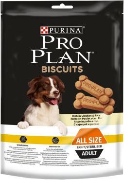 Лакомство для взрослых собак всех пород стерилизованных и склонных к лишнему весу, с курицей и рисом, Purina Pro Plan Biscuits, 400 гр., пластиковый пакет