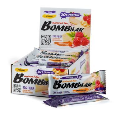 Батончик BombBar протеиновый малиновый чизкейк, 60 гр., флоу-пак