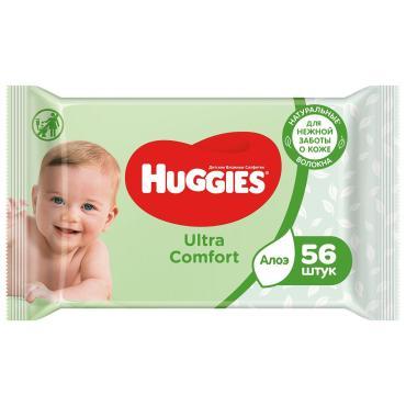 Салфетки влажные Ультра Комфорт Алое 56 шт, Huggies, пакет