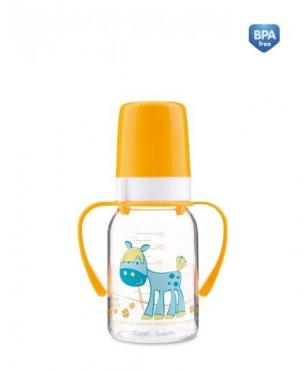 Бутылочка тритановая (BPA 0%) с ручками с силиконовой соской, 120 мл., Canpol Babies Cheerful animals