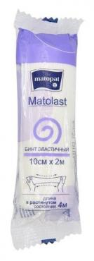 Бинт медицинский эластичный фиксирующий без застёжки 10 см.х2 м., Matopat Matolast, флоу-пак