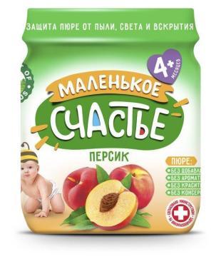 Пюре Персик Маленькое счастье, 90 гр., стекло