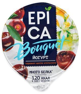 Йогурт 4,8% черешня-экстракт цветов апельсина Букет, Epica, 130 гр, ПЭТ