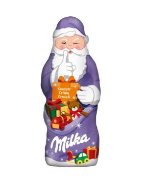 Шоколад фигурный молочный в форме Деда Мороза, Milka, 90 гр., обертка фольга/бумага