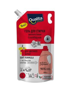 Гель для стирки для цветного белья Запасной блок, Qualita, 1 л., дой-пак с дозатором